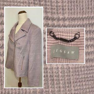 Womens Jigsaw cropped biker style wool blend coat